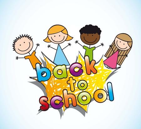 announcement of school with children, back to school Vector