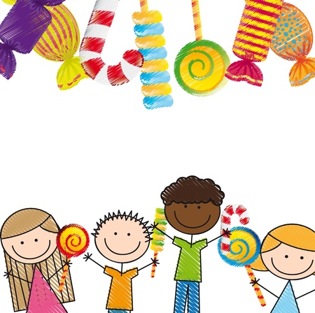 children group: candies and children over white background. illustration Illustration