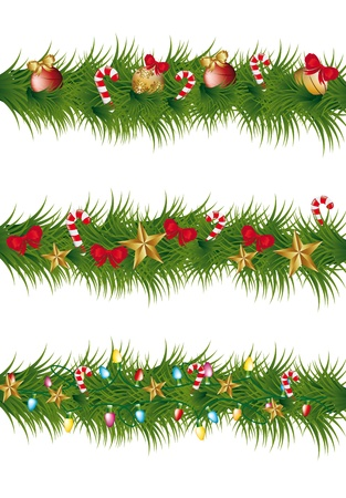 christmas garland with balls, stars and lights Stock Vector - 14751949
