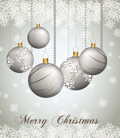 wish: christmas balls on abstract white lights background. illustration
