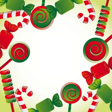 colourful candy: christmas candies with space for copy. illustration Illustration