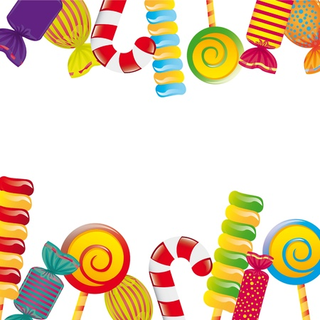 candy stick: colorful candies over white background. illustration