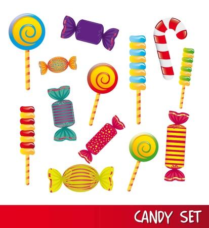 canne a sucre: bonbons set isol�s sur fond blanc. illustration vectorielle