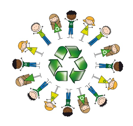 recyclable waste: children around recycle sign, drawing. illustration Illustration