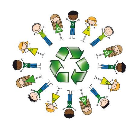 ni�os reciclando: los ni�os de todo signo de reciclaje, dibujo. ilustraci�n Vectores
