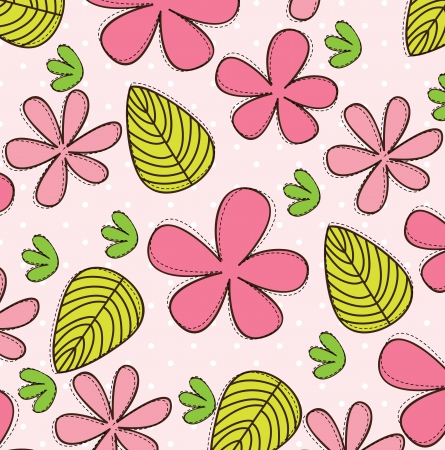 Pink flower with green and yellow leaves Stock Vector - 14792854