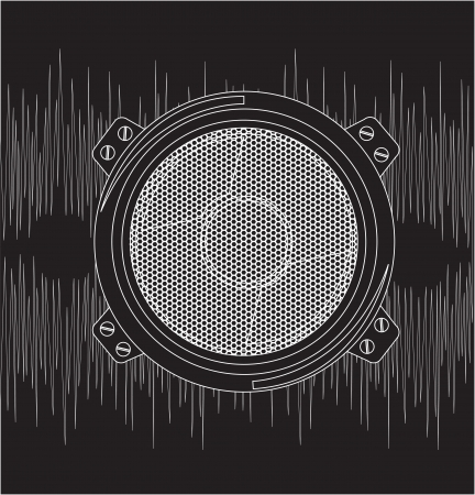 speaker with sound over black background Stock Vector - 14792853