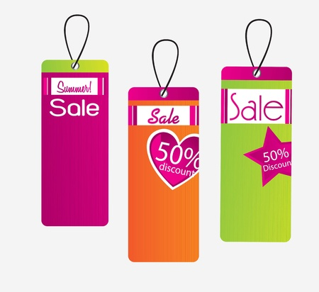 Tags sale of different colors over white background Vector