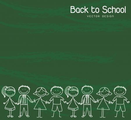 children writing: children holding hands over green background Back to school Illustration