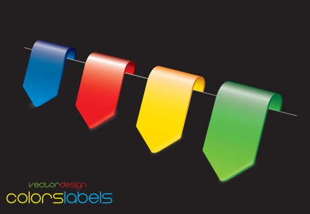 Yellow, red,blue and green labels over black background Vector