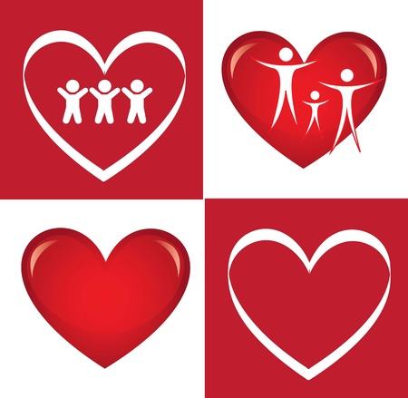 Heart family over white background vector illustration Vector