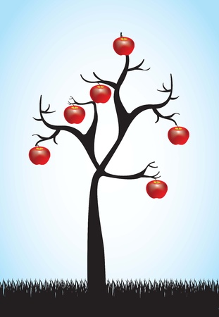 dead tree with some apples hanging Vector