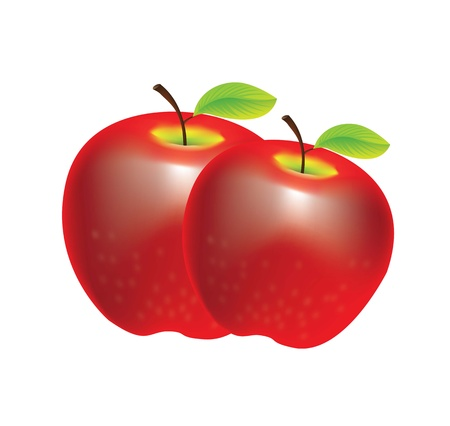 two beautiful red apples over white background Vector