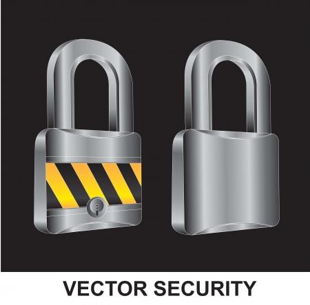 guard duty: dos bloqueos en diferentes posiciones sobre el fondo negro Vectores