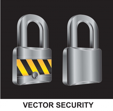 two locks in different positions over black background Vector