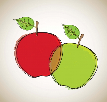 Green and red apple over white background vector illustration Vector
