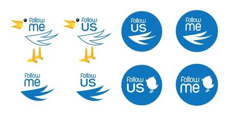 different bird symbol of inviting follow us Stock Vector - 14792779