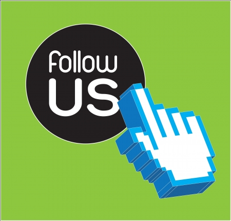 hand course with follow us button vector illustration  Vector