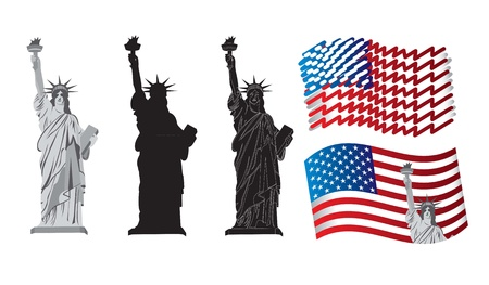 symbols of American patriotism with the Statue of Liberty  Vector