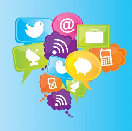 interaccion social: Iconos de la comunicaci�n sobre fondo azul ilustraci�n vectorial