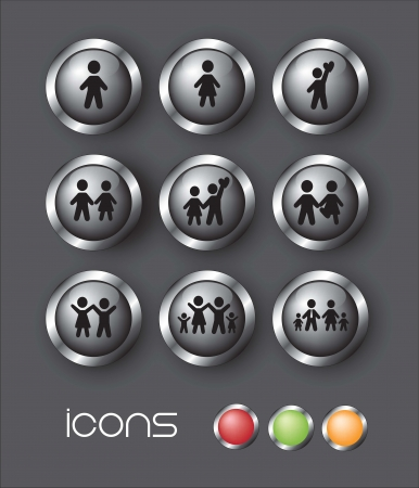 Icons of family over gray background Vector