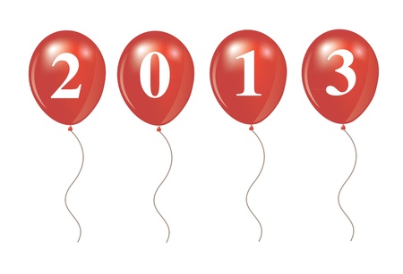 New year 2013 over ballon shape Vector