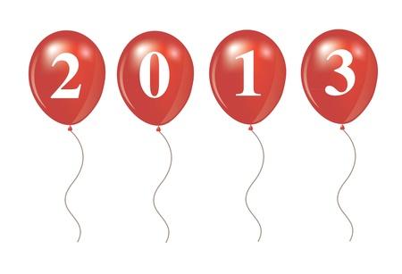 New year 2013 over ballon shape Stock Vector - 14792845