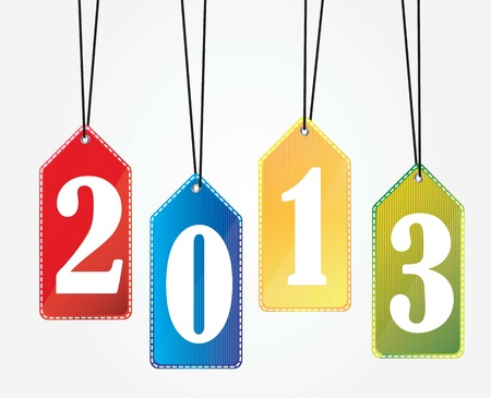 labels new year of colors over white background Vector