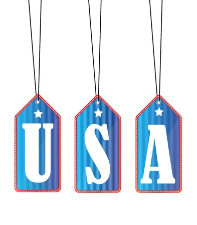 hanging letters of USA   on labels over white background Vector