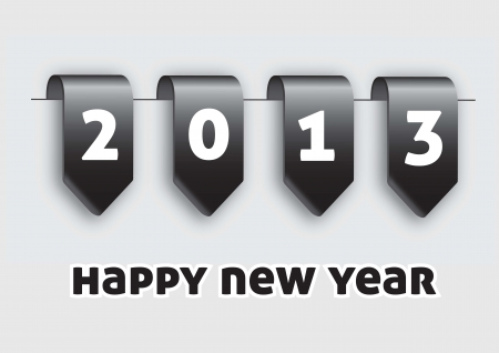 Labels happy new year over white background  Vector