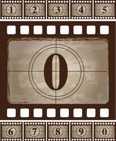 Strip  of vintage film  with a zero Vector