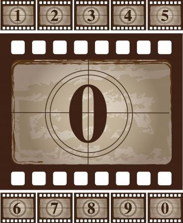 Tira de película de la vendimia con un cero