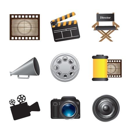 ядра: Значки фильм на белом фоне