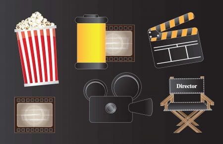 icons of movie, film and cinema over black background  Vector