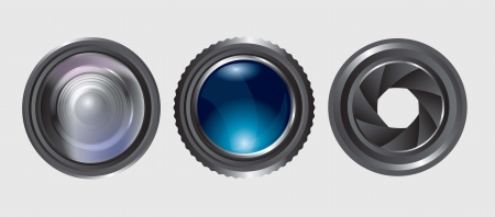 variety of lenses in different positions over white background Vector