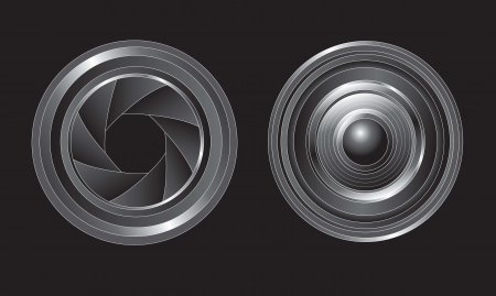 lens open and closed over black background Stock Vector - 14792772