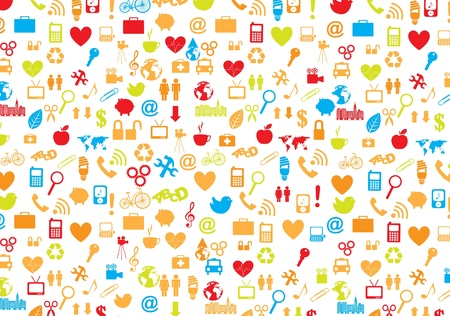 variety of symbols of communication, love, world, family and health care Stock Vector - 14792929