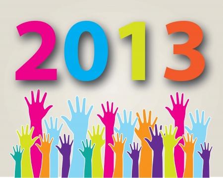 osiągnął: ręce osiągnęły nowy rok na białym tle