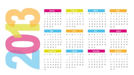 2013 calendar over white background. vector illlustration Vector