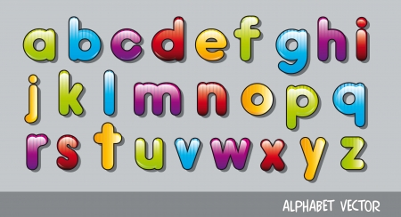 cute alphabet over gray background. vector illustration Vector