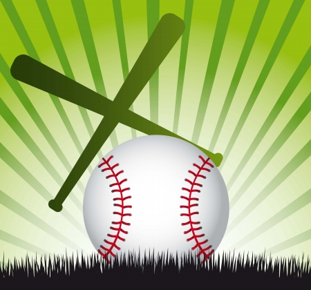 hardball: baseball ball over grass with baseball bat. vector illustration Illustration