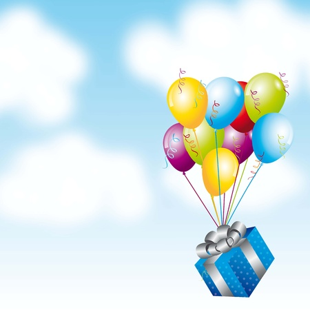 gift with balloons over sky background. vector illustration Vector