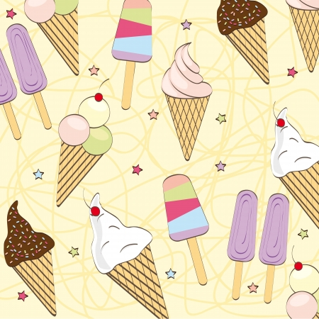 cute ice cream over beige background. vector illustration Vector
