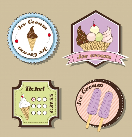 ice cream labels over beige background. vector illustration Stock Vector - 14877095