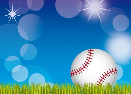sphere base: baseball ball over grass and sky background. vector illustration Illustration
