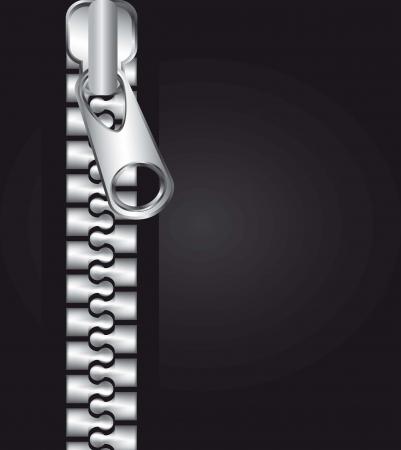 metallic zipper over black background. vector illustration Vector