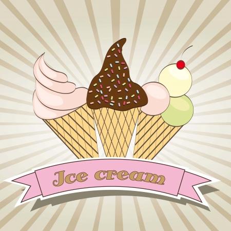 cornet: cute ice cream over beige background. vector illustration