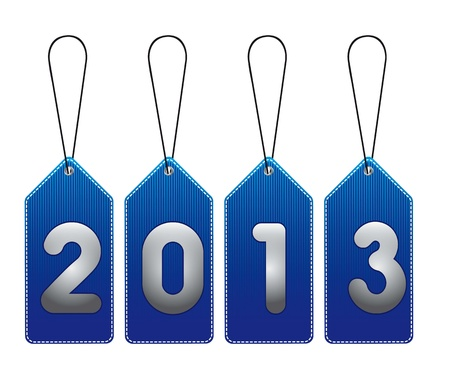2013 blue tags isolated over white background. vector illustration Stock Vector - 14877084