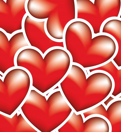 red hearts background with edge. vector illustration Vector