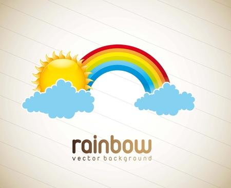 arco iris vector: arco iris con las nubes y el sol sobre fondo vintage. vector